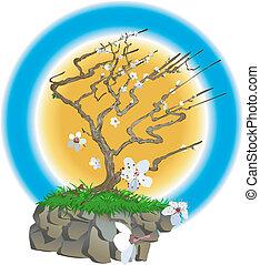 японский, иллюстрация, дерево