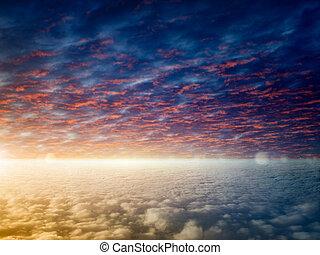 яркий свет, clouds, пылающий, закат солнца, горизонт, спокойный, skies