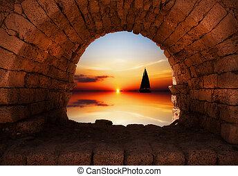 яхта, закат солнца, парусный спорт, против