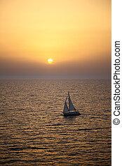 яхта, закат солнца, парусный спорт