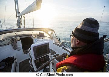яхта, закат солнца, шлем, в течение, рулевое управление, человек