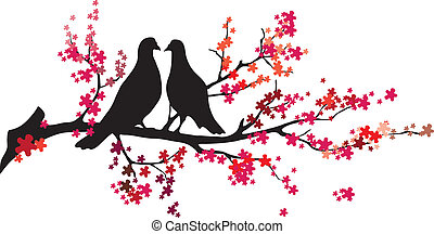 -, вектор, дерево, birds
