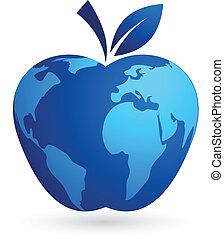 -, глобальный, мир, яблоко, деревня
