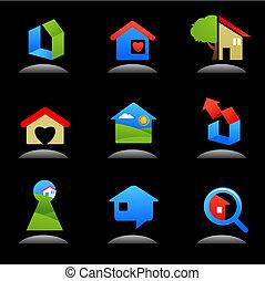-, строительство, имущество, logos, реальный, /, icons, 7