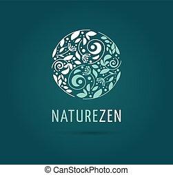 -, травяной, вектор, лекарственное средство, медитация, янь, логотип, дзэн, инь, значок, китайский, концепция, альтернатива, оздоровительный