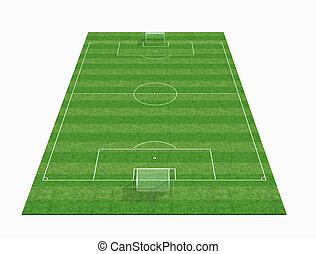 -3d, поле, renderig, перспективный, футбольный, пустой, посмотреть