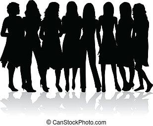 -, silhouettes, женщины, группа, черный