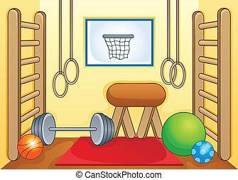 1, гимнастический зал, спорт, тема, образ