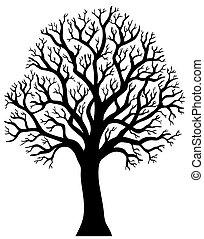 2, дерево, без, силуэт, лист