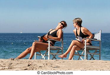 2, пляж, женщины