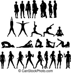 20, silhouettes, figures, семь, люди