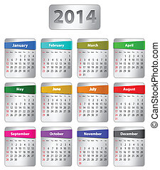 2014, календарь, английский