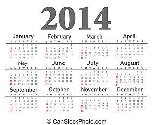 2014, календарь