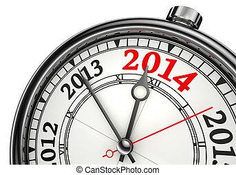 2014, концепция, год, изменение, часы
