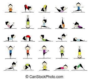 25, женщина, practicing, йога, дизайн, poses, ваш