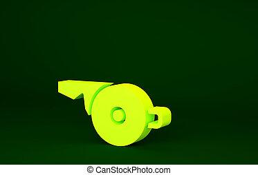 3d, значок, symbol., свисток, спорт, оказывать, isolated, иллюстрация, желтый, фитнес, background., concept., минимализм, sign., зеленый, арбитр