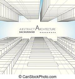 3d, иллюстрация, архитектура, абстрактные, здание, городской, background., дизайн