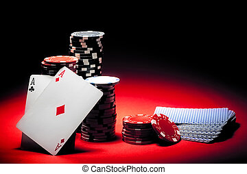 aces, пара, покер, чипсы