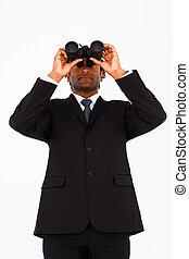 afro-american, бизнесмен, с помощью, серьезный, bioculars