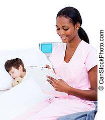 afro-american, врач, изготовление, patient's, буфер обмена, notes