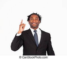 afro-american, pointing, бизнесмен, upwards