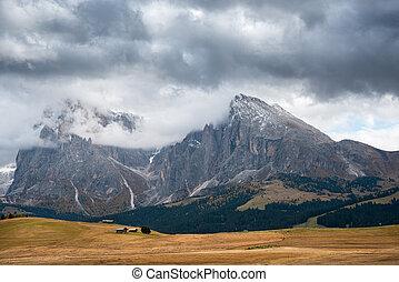 alpe, seiser, siusi, скалистый, луг, dolomiti, ди, поле, alm, peaks, италия