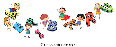 alphabets, kids, playing