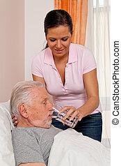 altenhei, aged, медсестра, пожилой, забота