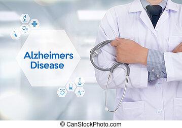 alzheimers, головной мозг, паркинсон, болезнь, diseases, концепция, degenerative