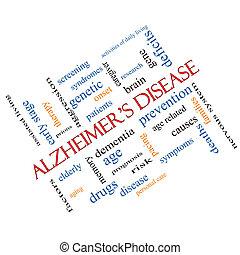 angled, концепция, слово, alzheimer's, болезнь, облако