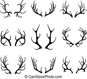 antlers, белый, вектор, олень, isolated