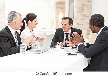 applauding, встреча, бизнес, люди