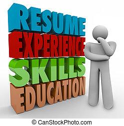 applying, продолжить, навыки, qualifications, мыслитель, опыт, работа, образование