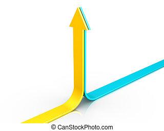 arrows, два, pointing, upwards