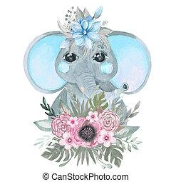art., детка, стена, children's, слон, комната, плакат, милый, ботанический, венок, цветы, душ, договоренность
