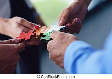 assembling, группа, бизнес, люди, головоломка, головоломки
