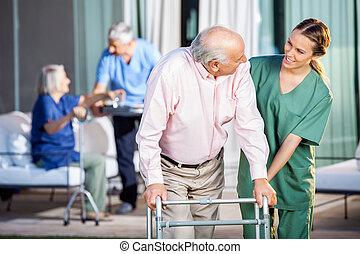 assisting, смотритель, zimmer, с помощью, старшая, человек, рамка, счастливый