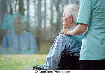 assisting, старшая, медсестра, человек