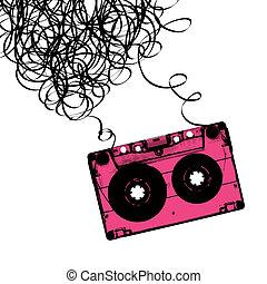 audiocassette, вектор, лента, illustration., tangled.