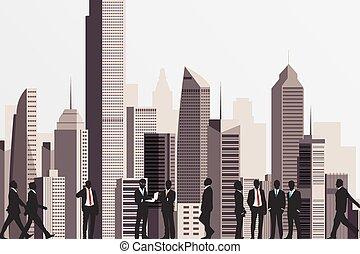 backdrop., люди, бизнес, здание, silhouettes, небоскреб