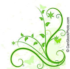 background., зеленый, цветочный