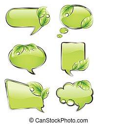 banners, вектор, зеленый, leaf.
