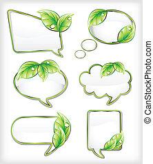banners, вектор, иллюстрация, leaf.