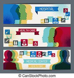 banners., медицинская, здоровье, горизонтальный, забота