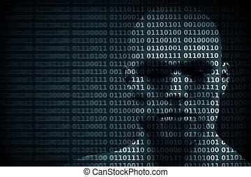 blended, код, защита, хакер, etc., двоичный, digits., лицо, человек, концепция, данные
