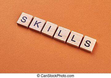 blocks., навыки, слово, написано, дерево