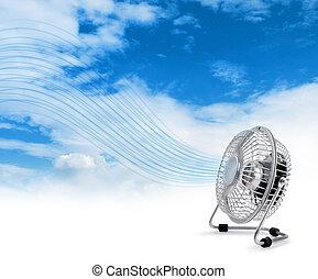 blowing, электрический, кулер, воздух, поклонник, свежий