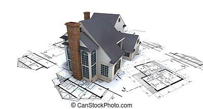 blueprints, дом, вверх, 2, архитектор, жилой