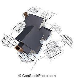 blueprints, дом, вверх, 3, архитектор, жилой