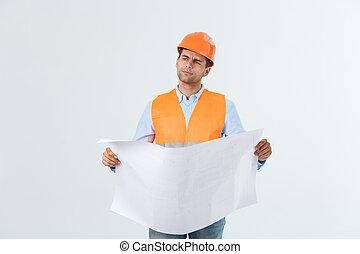 blueprints, задний план, против, вдумчивый, архитектор, держа, белый